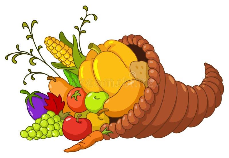 Horn of plenty. Cornucopia with autumn fruits and vegetables stock illustration