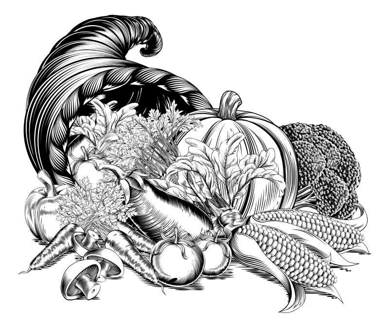Horn of Plenty Cornucopia Woodcut stock illustration