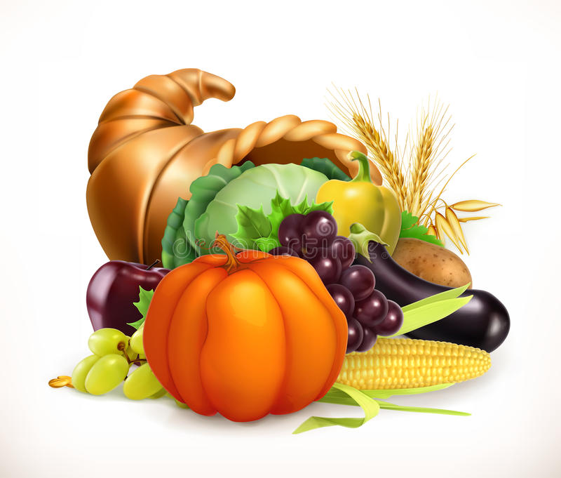 Horn of plenty. Harvest fruits and vegetables. Cornucopia. Vector icon stock illustration