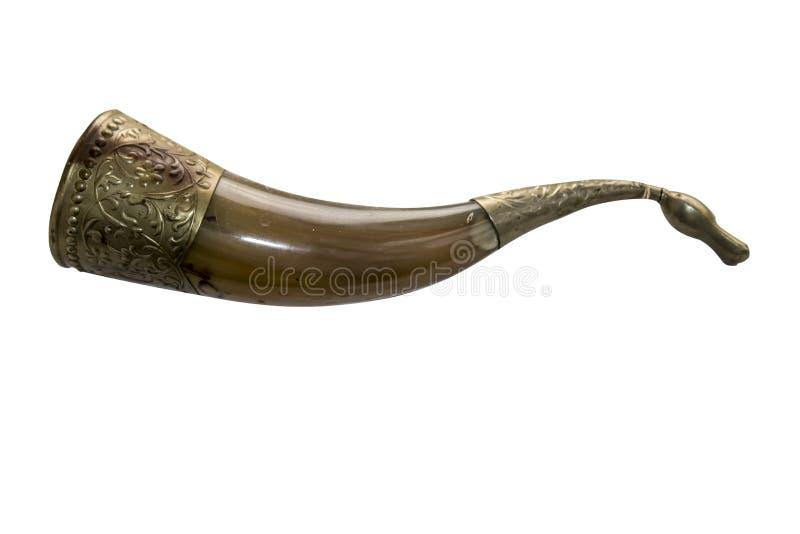 Horn- prydnad för pulverflaska arkivfoton