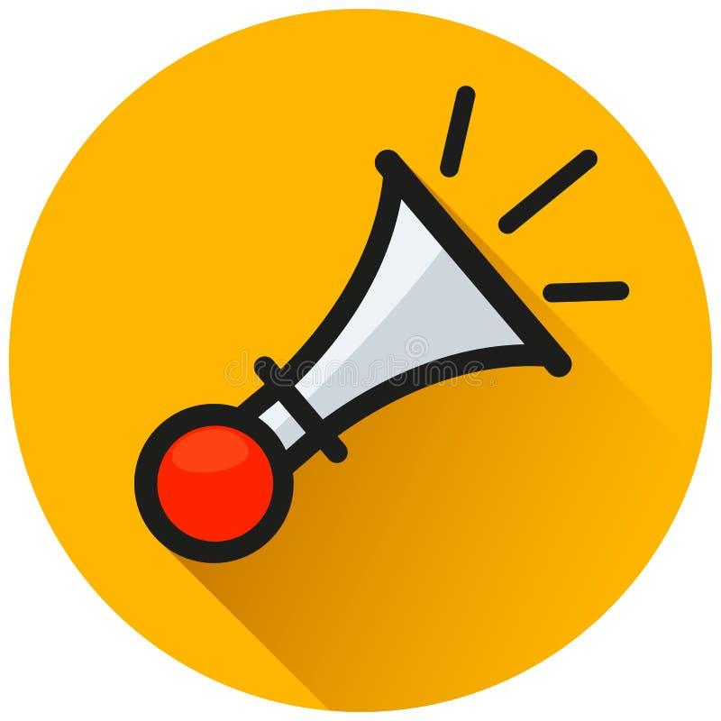 Horn- symbol för cirkelapelsinlägenhet stock illustrationer