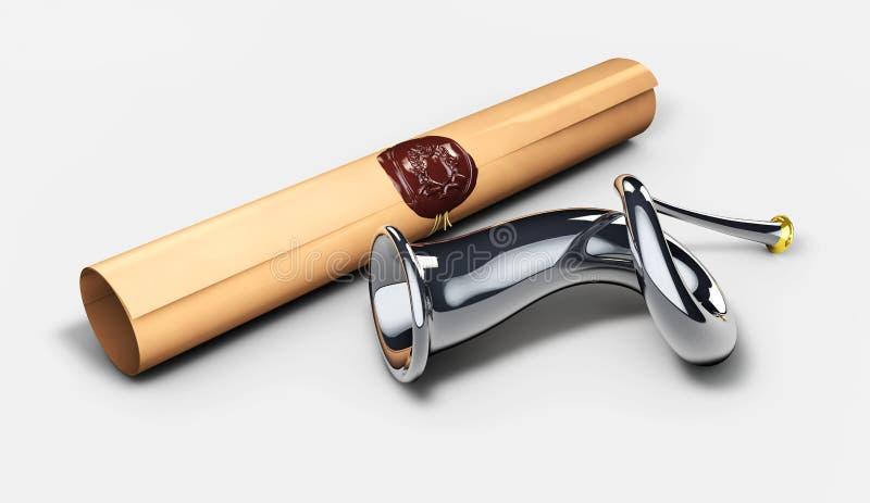 Horn und königliche Verordnung Skizzenposthorn Abbildung 3D lizenzfreie abbildung
