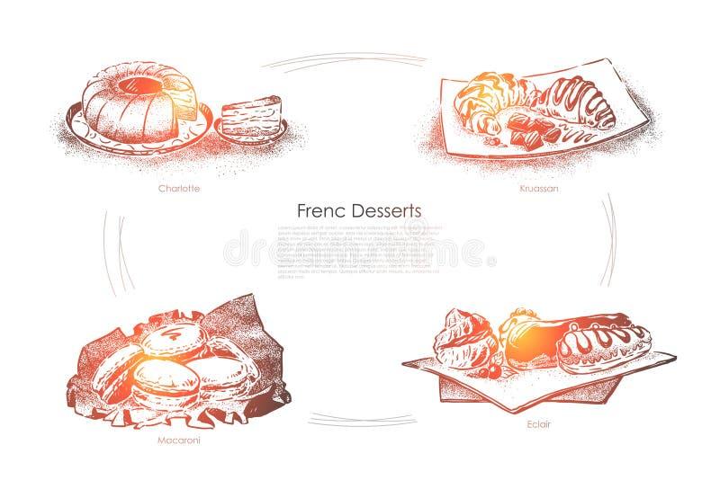 Hornada deliciosa, pasteles sabrosos, Charlotte, cruasán, macarrones y eclairs cremosos, bandera de la confitería libre illustration