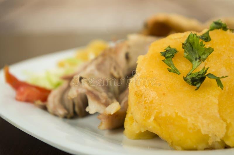Hornado geroosterd varkensvlees Ecuatoriaans traditioneel voedsel stock foto