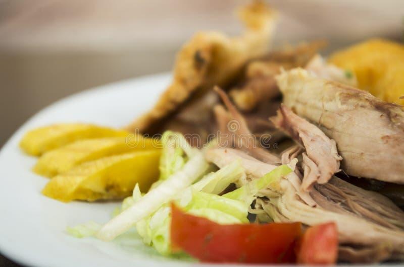 Hornado geroosterd varkensvlees Ecuatoriaans traditioneel voedsel royalty-vrije stock afbeelding