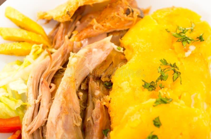Hornado a rôti la nourriture typique d'ecuadorian de porc photographie stock