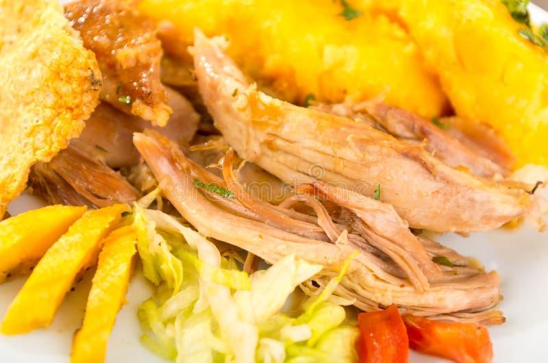 Hornado a rôti la nourriture typique d'ecuadorian de porc image stock