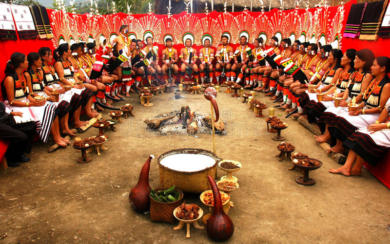Hornbill Festival of Nagaland-India. Kisama,Kohima,Nagaland,India-`Angami` people feasting at hornbill festival. In every year the 1st week of December the
