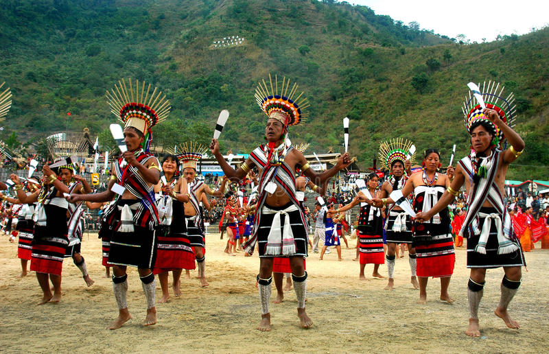 Hornbill Festival of Nagaland-India. Kisama,Kohima,Nagaland,India-People performing at the hornbill festival. In every year the 1st week of December the great