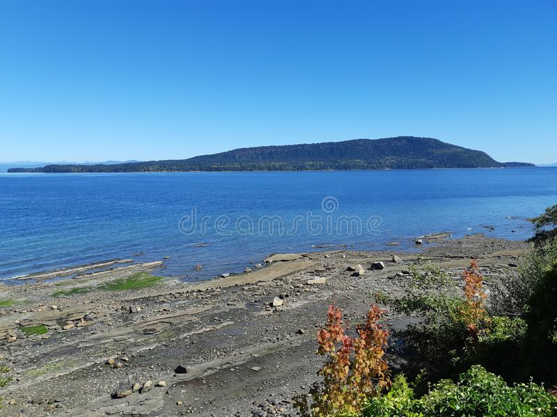 Hornby island. Seen from Denman island of Vancouver island in British Columbia, Canada stock image