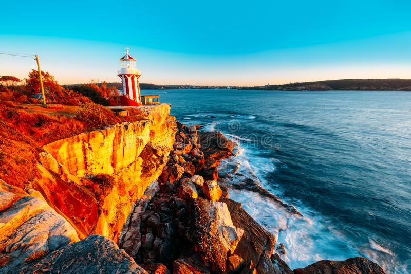 The Hornby lighthouse in a beautiful pacific sunrise. royalty free stock photo