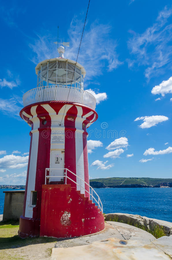 Hornby lighthouse. Vertically striped red and white Hornby lighthouse is a popular attraction in watson bay,Sydney,new south wales,Australia stock image
