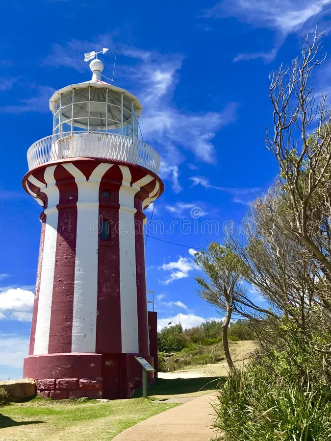 Hornby lighthouse. Vertically striped red and white Hornby lighthouse is a popular attraction in watson bay,Sydney,new south wales,Australia stock photos