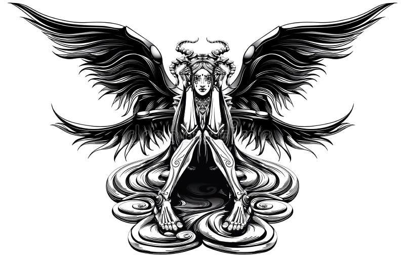 Horned ängel vektor illustrationer