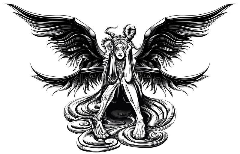 Horned ängel royaltyfri illustrationer