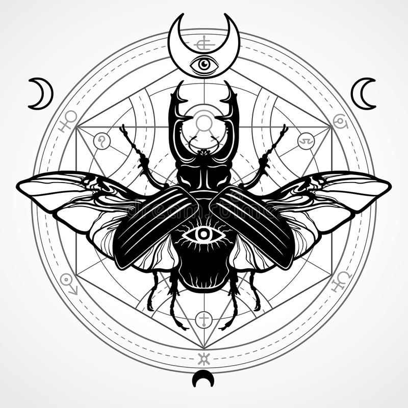Free Horned Bug. Mystical Circle. Esoteric Symbol, Sacred Geometry. Royalty Free Stock Photos - 83607018