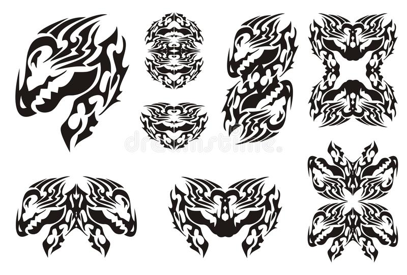 Horned Dragon Set In Tribal Style Stock Vector Illustration Of