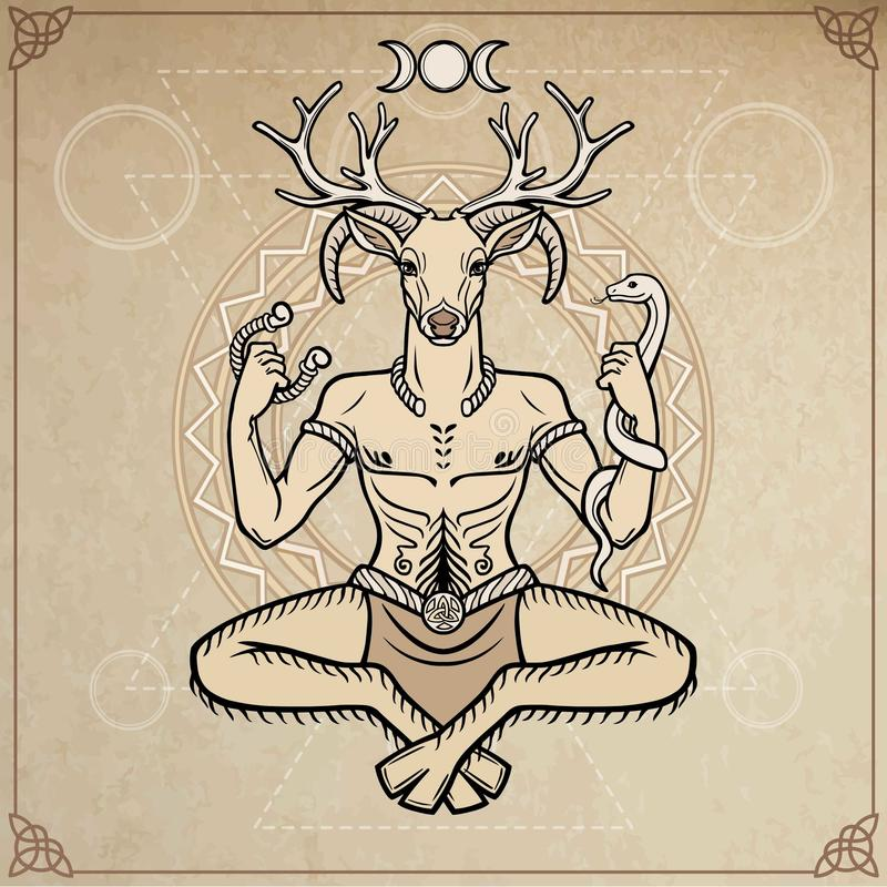 Free Horned God Cernunnos . Mysticism, Esoteric, Paganism, Occultism. Vector Illustration. Royalty Free Stock Photo - 103908745