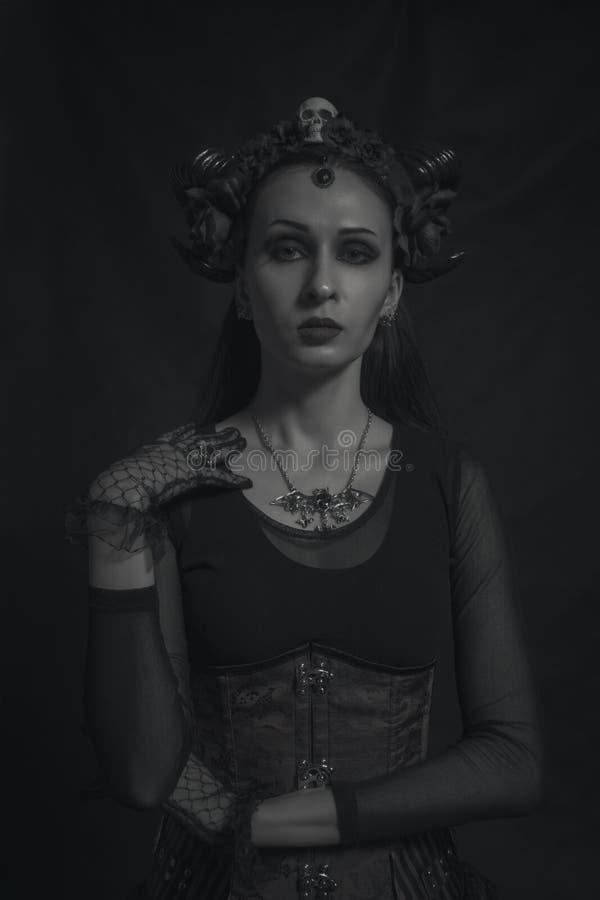 Horned gothic lady royalty free stock photo