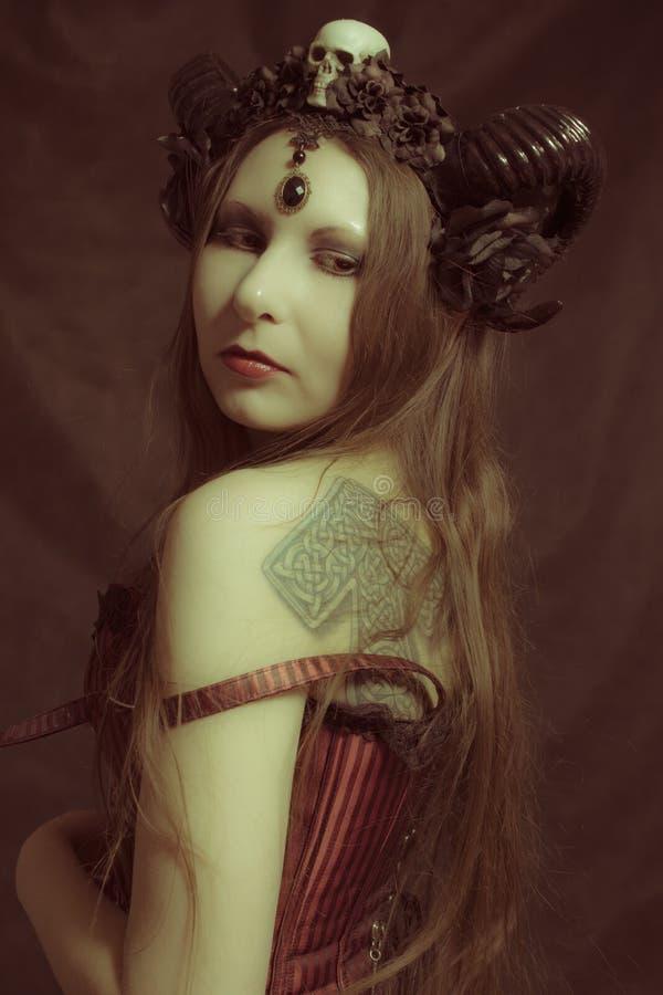 Horned gothic lady stock image