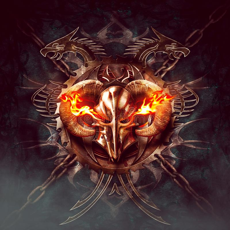 Horned knight helmet with flames. Ornaments, dragon silhouettes and chains in dark background vector illustration