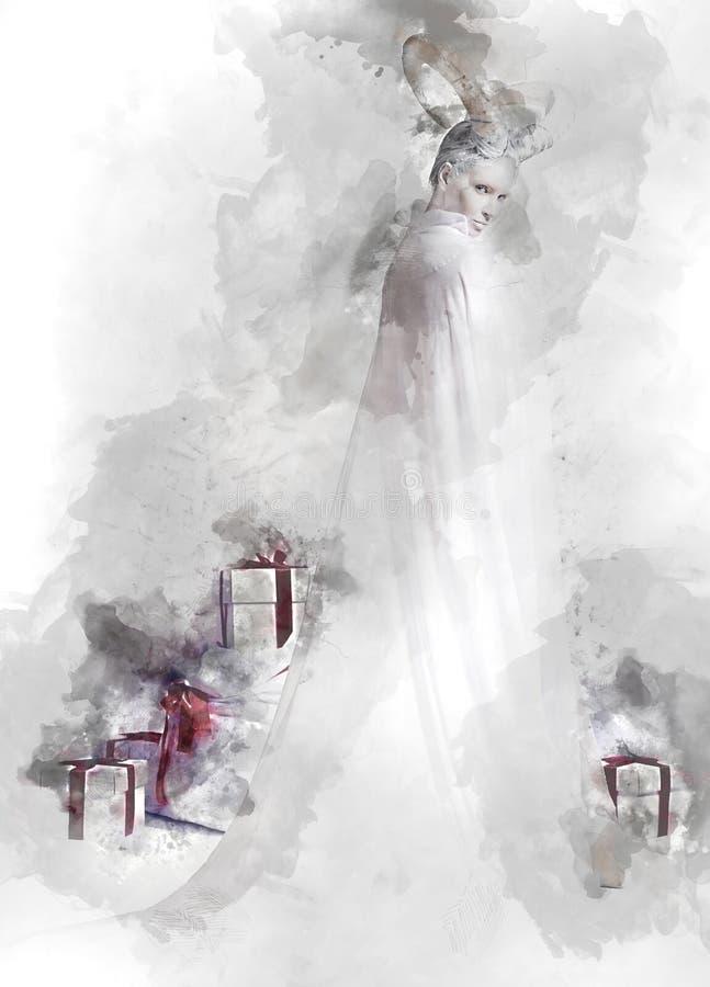 Horned kvinna och hög av gåvaaskar royaltyfri illustrationer