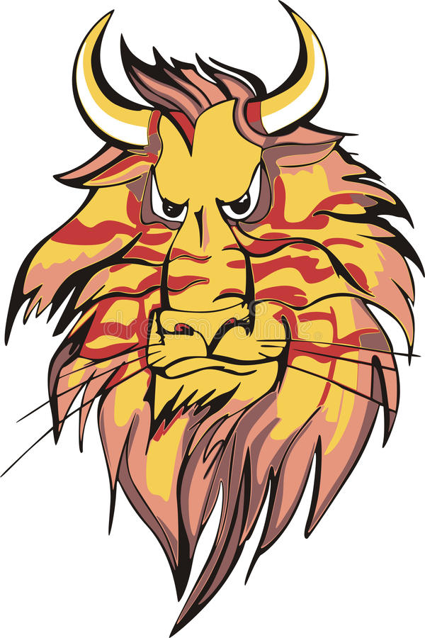 Download Horned lion head stock vector. Image of lions, undomestic - 17444690