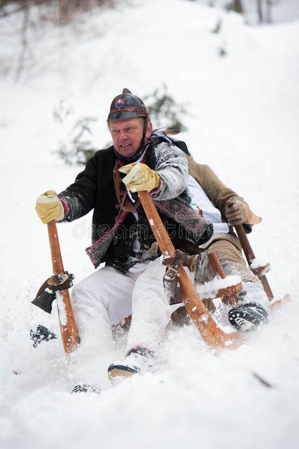 Horned Sledge Race 2012 in Turecka, Slovakia stock image