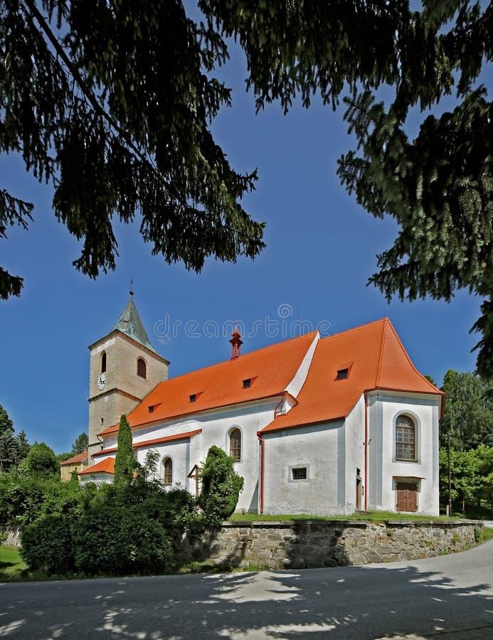 Horni Plana miasteczko - kościół zdjęcia stock