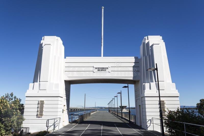 Hornibrook Bridge Art Deco Portal. Horizontal view of the Art Deco concrete abutment portal arch which frame the north end of the Hornibrook Bridge, in Clontarf stock photos