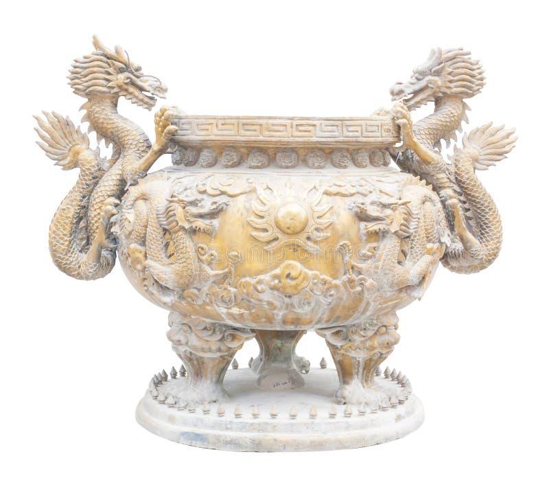 Hornilla de incienso de oro grande del dragón imágenes de archivo libres de regalías