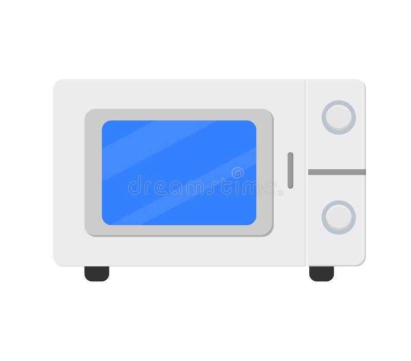 Horno de microondas de la cocina Preparando la comida, ilustración del vector
