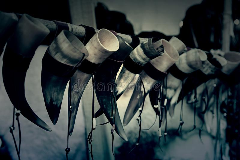 Horns of animal to drink. Detail of old Viking tradition royalty free stock image