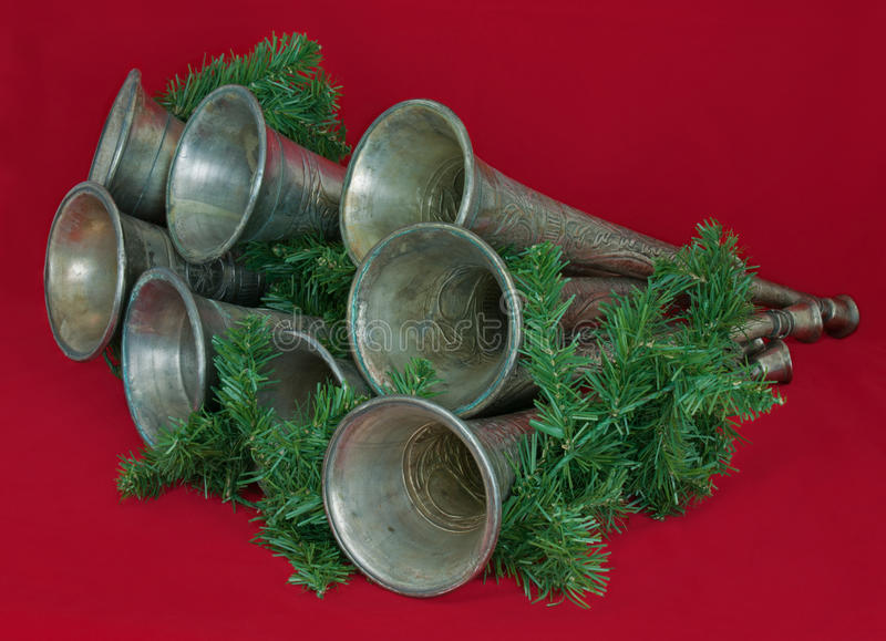 Download Horns And Greenery On Red Background Stock Photo - Image: 22080920