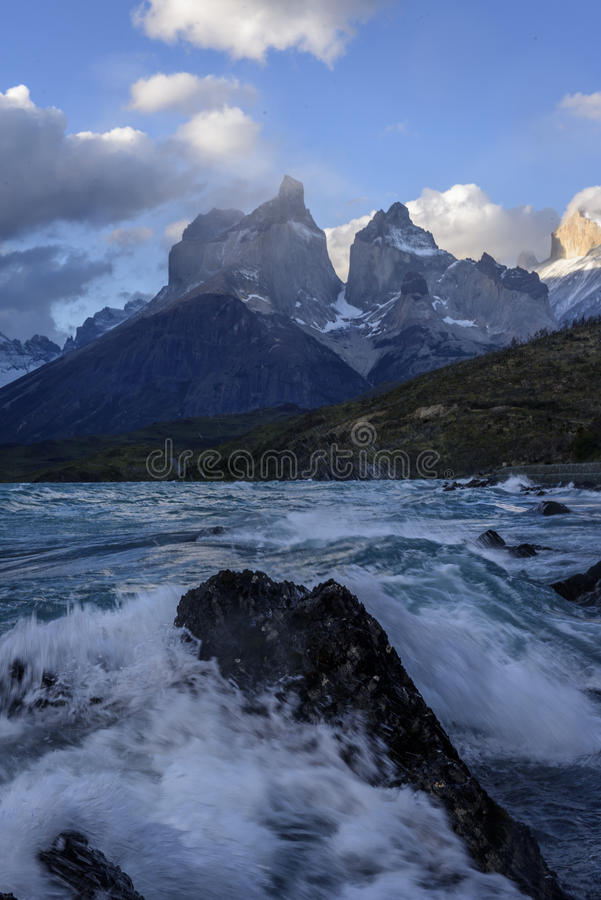The Horns Los Cuernos and lake Pehoe at torres Del Paine nati royalty free stock photos
