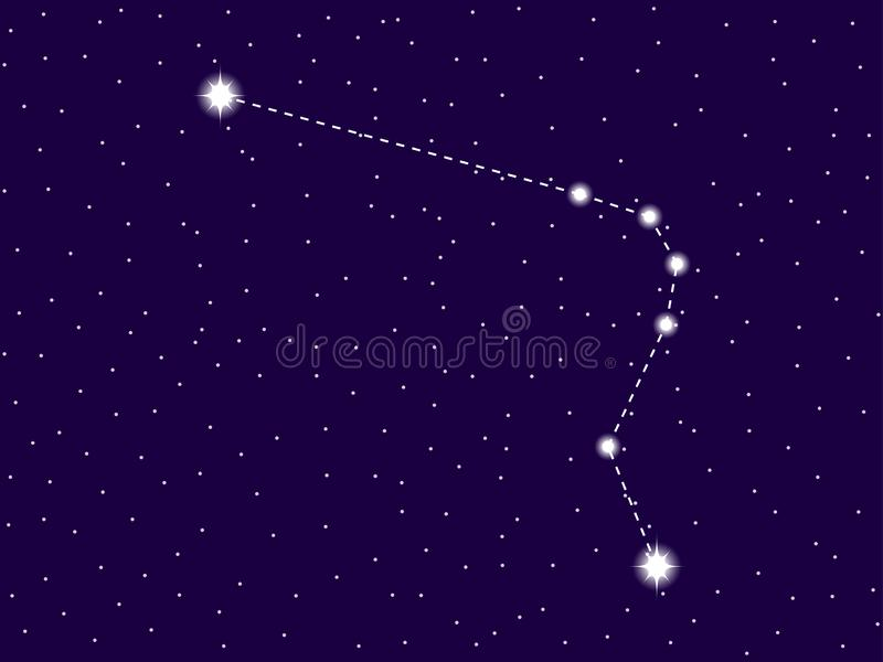 Horologium constellation. Starry night sky. Zodiac sign. Cluster of stars and galaxies. Deep space. Vector. Illustration royalty free illustration