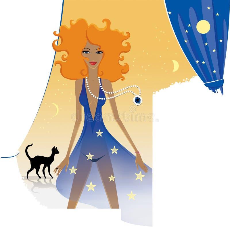 Horoscoop elegante dames Roodharige vrouwelijke leeuw met een magisch kristal De zwarte kat knaagt aan op zijn  stock illustratie