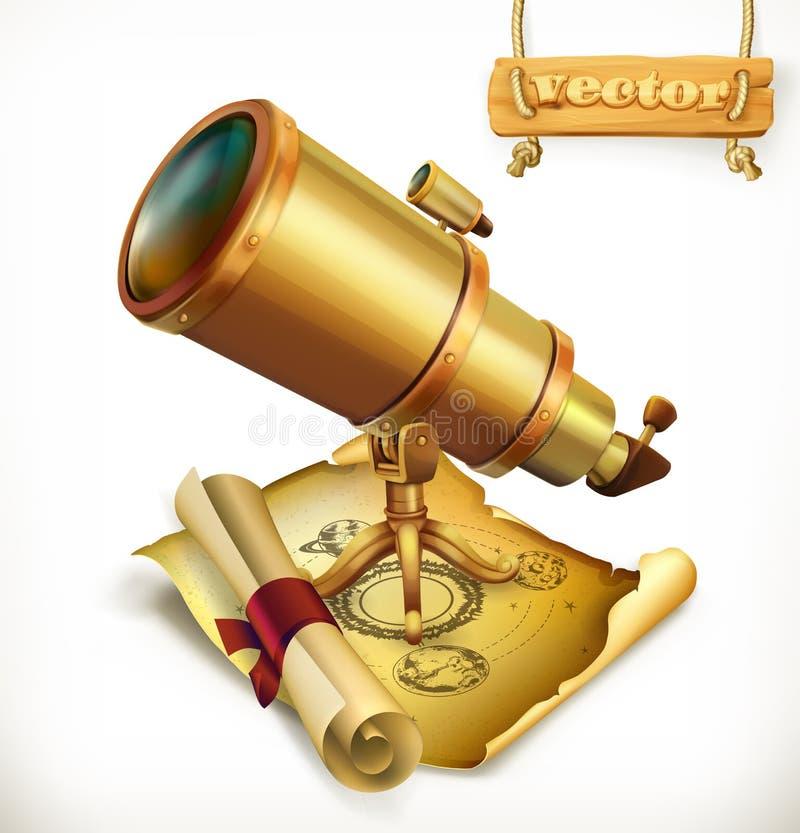 Horoscoop en telescoop Astrologie vectorpictogram royalty-vrije illustratie
