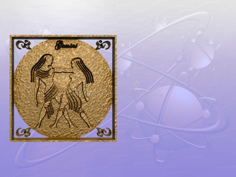 Horoscoop, Tweeling. stock illustratie