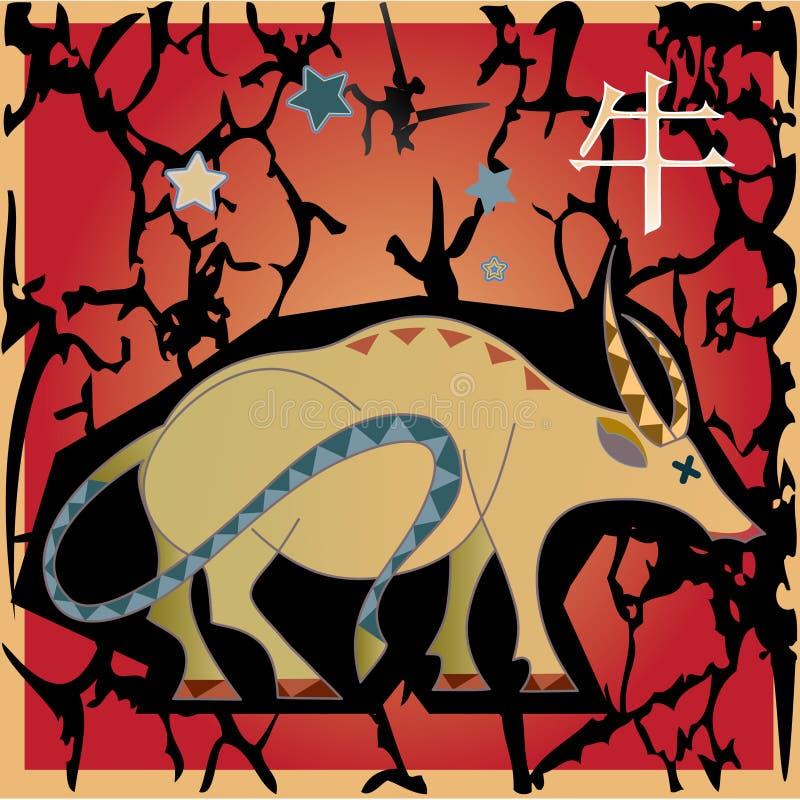 Horoscope animal - boi ilustração do vetor
