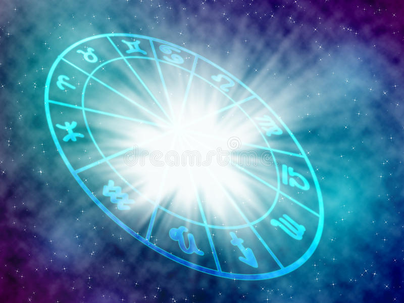 Horoscope. Blue background of the horoscope concept stock images