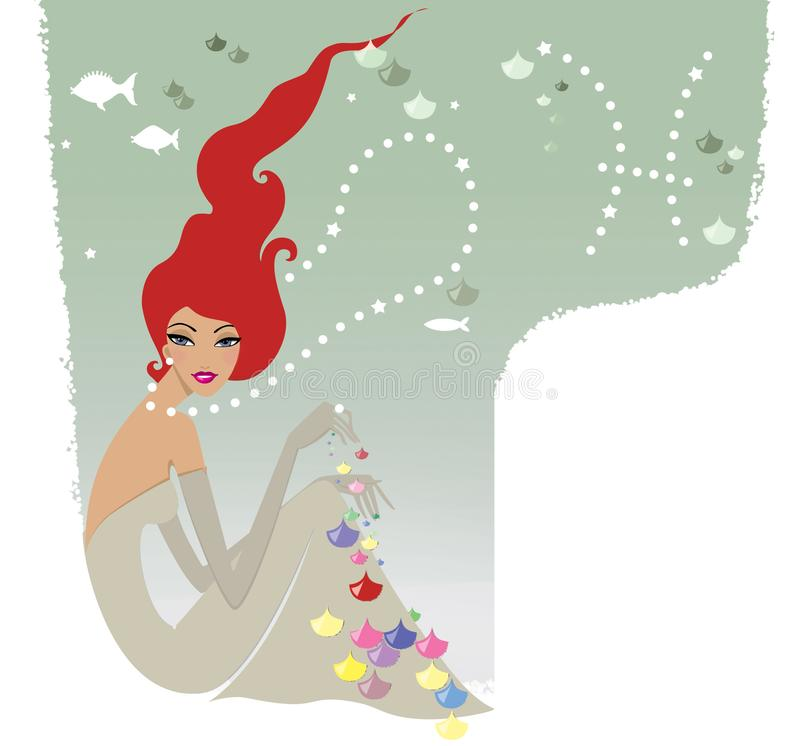 Horoscope chic ladies. Red-haired woman Pisces in an elegant dress under the water playing with fish scales stock illustration