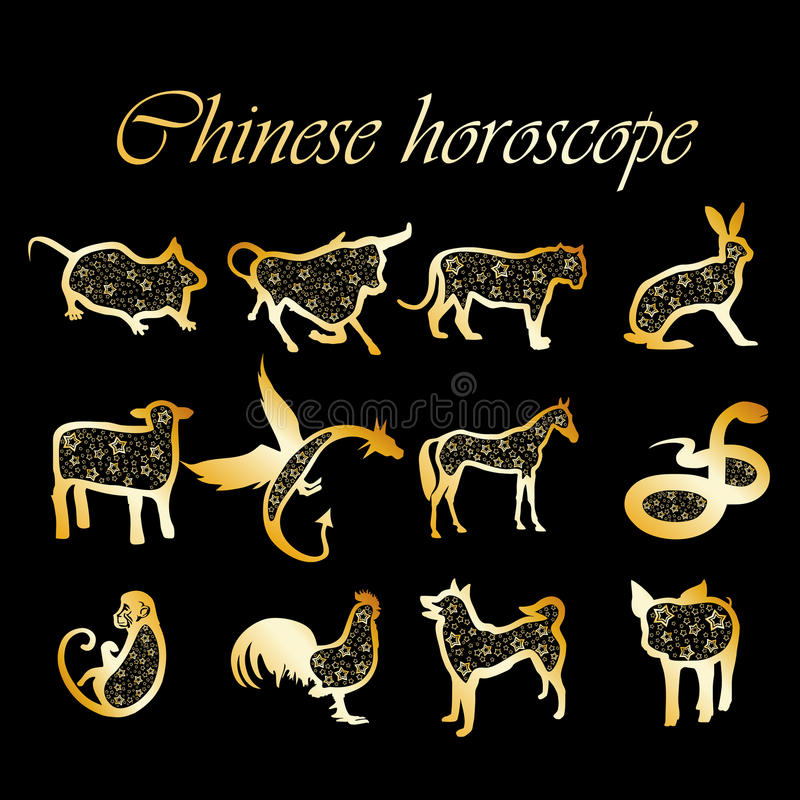 Horoscope chinois d'or images stock