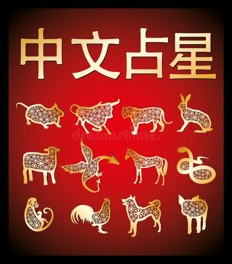 Horoscope chinois d'or photo libre de droits