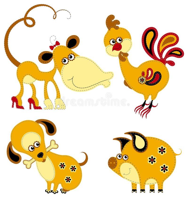 Horoscope engraçado do chinês do applique ilustração do vetor