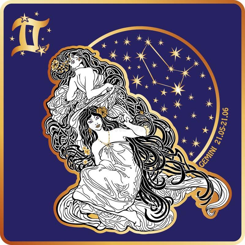 horoscope Muestra del zodiaco de los géminis con los gemelos de la mujer stock de ilustración