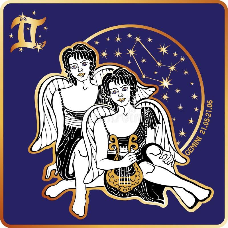 horoscope Muestra del zodiaco de los géminis con los gemelos de los muchachos stock de ilustración