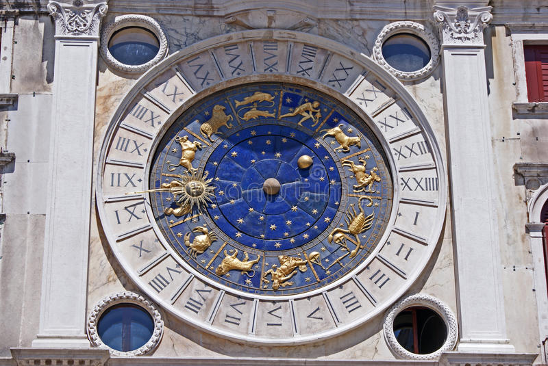 Horoscope on san marco dome in venice stock images