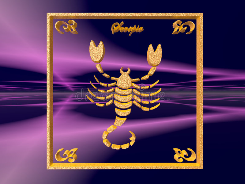 Zodiac Horoscope Brass Logo Scorpio 3D Illustration Background Wallpaper Clipping Path Copy Space