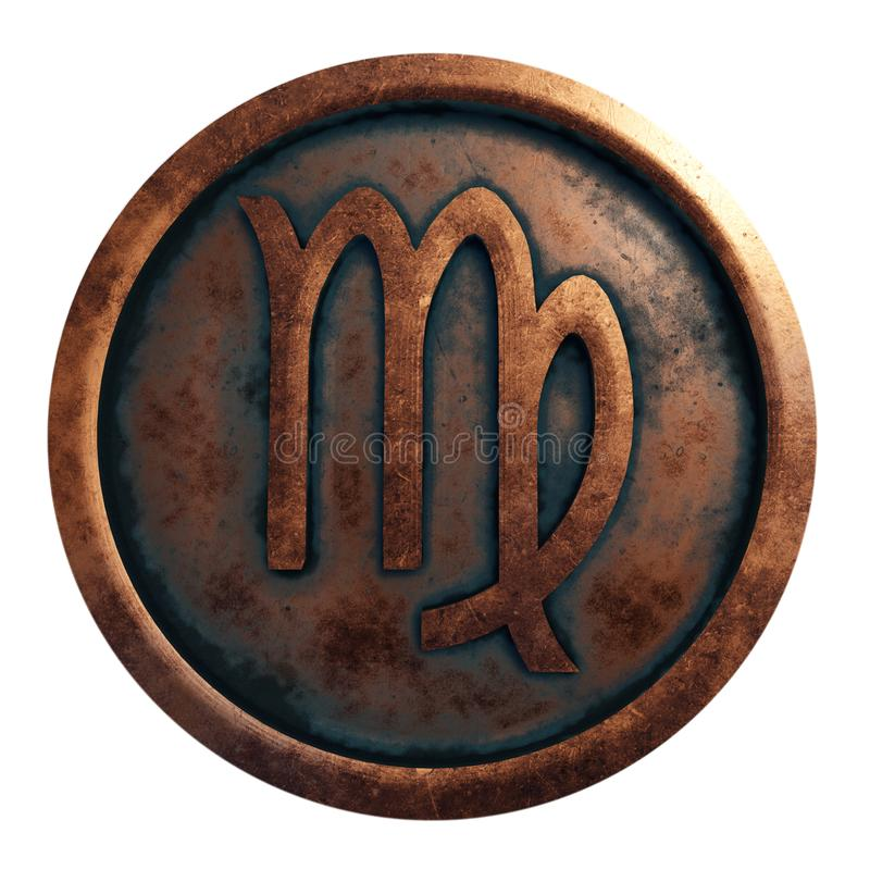 Horoscope sign Virgo in copper circle royalty free stock image